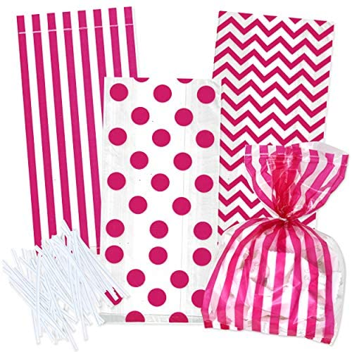 100 Hot Pink Cellophane Bags with Twist Ties for Birthday Wedding Anniversary Baby Shower Girl Favor Goody Treat Bags in Polka Dot, Stripes and Chevron Design