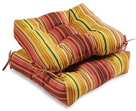 South Pine Porch AM6800S2-KINNABARI Kinnabari Stripe Outdoor 20-inch Seat Cushion, Set of 2