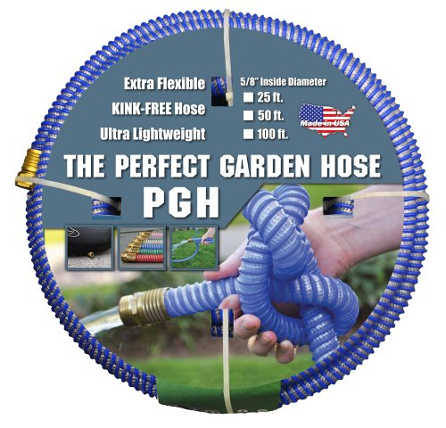 Tuff-Guard The Perfect Garden Hose, Kink Proof Garden Hose Assembly, Blue, 5/8″ Male x Female GHT Connection, 5/8″ ID, 25 Foot Length