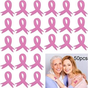 Outus 50 Pieces Breast Cancer Awareness Tattoo Pink Ribbon Stickers Temporary Tattoos for Fund Raiser Party Favors