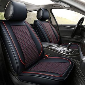 INCH EMPIRE Car Seat Cover-Football Liner Half Perforated Leatherette Cushion Fit for Accord Legacy Outback WRX Crosstrek Hybrid Tacoma FJ Cruiser RAV4 Corolla Matrix Venza Avalon (2 Front Black&Red)