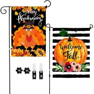 2 Pack Welcome Fall Happy Thanksgiving Decoration Vertical Double-Sided Outdoor Garden Flags,Autumn Pumpkin Turkey Vintage Burlap Flag Decor with Clips Stoppers for Home Front Door Outside Yard Lawn