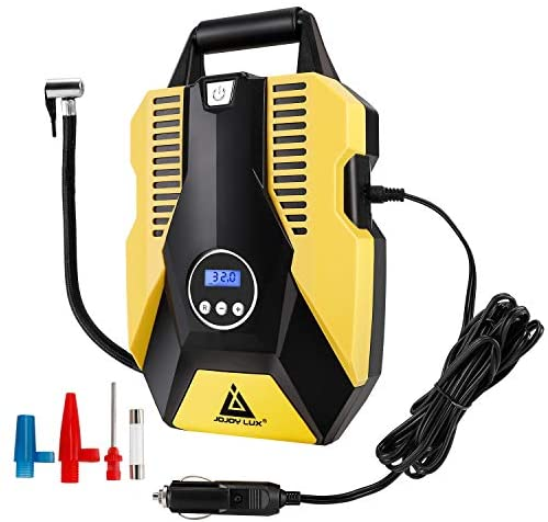 Digital Tire Inflator, 12V DC Portable Air Compressor Pump for Car Tires, 150 PSI Auto Shut Off with Emergency LED Flasher, Long Cable for Car, Bicycle, Motocycle, Air Boat and Other Inflatables