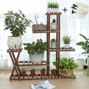 Wooden Plant Stand Shelf 5 Tier Without Wheels Flower Pot Holder Display Multi-Shelvings Storage Rack for Plants Displaying Home Garden Patio Corner Outdoor Indoor (37.4inch-X2 no Wheels)