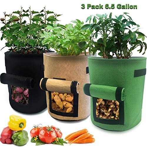 Nicheo 3 Pcs 6.5 Gallon Garden Boxes, Easy to Harvest, Planter Pot with Flap and Handles, Garden Planting Grow Bags for Potato Tomato and Other Vegetables, Breathable Nonwoven Fabric Cloth