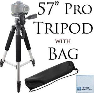 57″ inch Pro Series Aluminum Camera Tripod for or Canon, Nikon, Sony, Samsung, Olympus, Panasonic & Pentax + an eCostConnection Microfiber Cloth