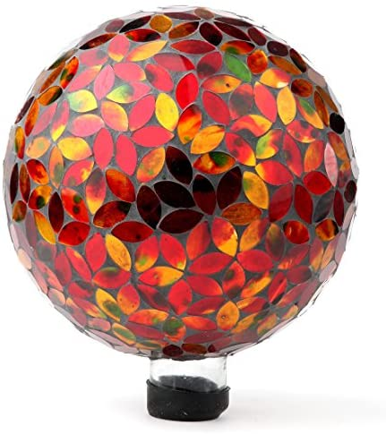 Lily's Home Colorful Mosaic Glass Gazing Ball, Designed with a Stunning Holographic Petal Mosaic Pattern to Bring Color and Reflection to Any Home and Garden, Red and Gold (10″ Diameter)