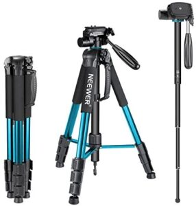 Neewer Portable 70 inches/177 centimeters Aluminum Alloy Camera Tripod Monopod with 3-Way Swivel Pan Head,Bag for DSLR Camera,DV Video Camcorder,Load up to 8.8 pounds/4 kilograms Blue(SAB264)