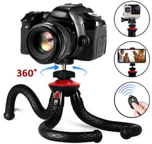 Phone Tripod, GooFoto Flexible Tripod with Wireless Remote 360° Adjustable Waterproof and Anti-Crack Cell Phone Tripod for Vlogging Video Live Streaming Tripod for iPhone, Android, Samsung, Camera