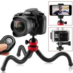 Flexible Tripod for iPhone, 12″ Smartphone Tripod + High-Speed Bluetooth Remote for iPhone, Samsung, Compact Gorilla Tripod Stand 360° for GoPro, Cell Phone and DSLR Camera (Tripod + Remote)
