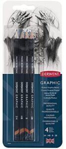 Derwent Graphic Pencils, Medium, Pack, 4 Count (39004)