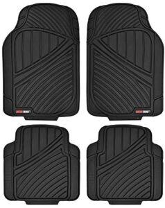 Motor Trend FlexTough Standard – 4pc Set Heavy Duty Rubber Floor Mats for Car SUV Van & Truck (Black) (MT-774-BK_AMJAN)