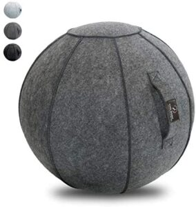 Sitting Ball Chair with Handle for Home, Office, Pilates, Yoga, Stability and Fitness – Includes Exercise Ball with Pump