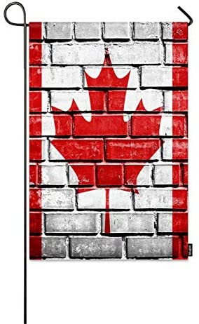 CjnbLh Canada Flag Small Garden Flag Canada Flag Painted on Old Brick Wall Texture Background Decorative Spring Summer Outdoor House Flags for Garden Yard Lawn 12″ x 18″