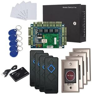 4 Doors IP Based Security Access Control Kit with Metal Case 110V Power Box RFID Reader+Infrared Exit Button+Desktop Enroll Reader+RFID Keychains/Cards Phone APP remotely Open Door