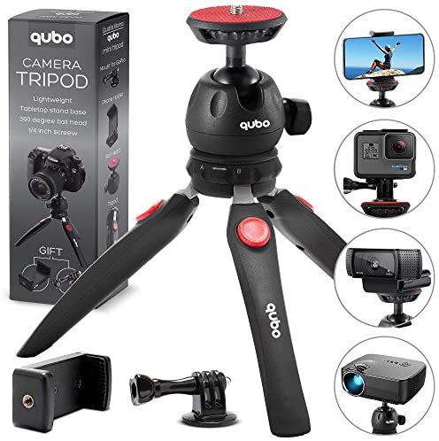 qubo Mini Tripod Camera Holder – Premium Tabletop Small Phone Tripod Mount for GoPro iPhone / Cell Phones Webcam Projector Compact DSLR – Hand Desktop Camera Tripod Stand Table