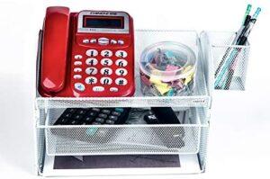 VANRA Desk Organizer Set Metal Mesh Desktop Telephone Stand with Pencil Cup Holder, 2 Piece White