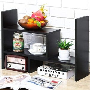 Desktop Bookshelf Desk Storage Organizer Adjustable Wood Desktop Display Shelf Rack Counter Office Storage Rack Top Bookcase – Free Style Display Natural Stand Office Supplies Desk Organizer, Black