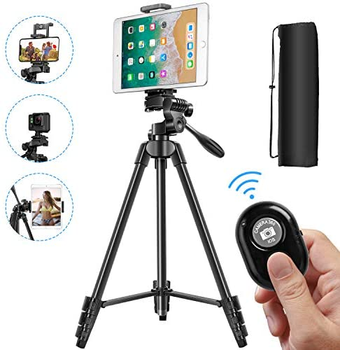 Phone Tripod, 55 Inch Lightweight Tripod for Phone with 2 in 1 Holder for Tablet and Cellphone Aluminum Alloy 3-Way Head Tripod for DLSR Camera with Carrying Bag and Bluetooth Remote Control