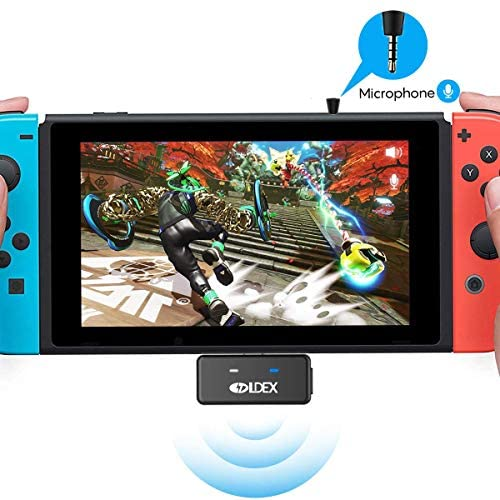 Nintendo Switch Bluetooth Adapter Audio Transmitter, aptX Low Latency Technology, Supports Dual Paring, in-Game Voice Chat, Compatible with Airpods, Switch 2017, Switch Lite 2019, PS4, PC and TV