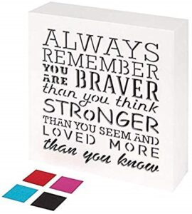KAUZA Always Remember You are Braver Than You Think – Inspirational Gifts Positive Wall Plaque Pallet Saying Quotes for Birthday – Presents for Mom Sister Grandma 5.5 x 5.5 Inch