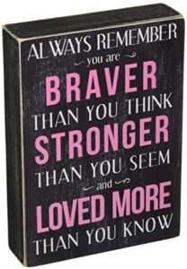 Kelli's Shop Braver Always Remember Box Sign-7 x 5 Inches, Multicolor