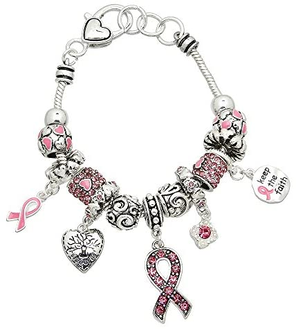 Lola Bella Gifts Crystal Keep The Faith Pink Ribbon Breast Cancer Awareness Charm Bracelet with Gift Box