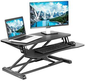 VIVO Black Height Adjustable 32 inch Standing Desk Converter, Sit Stand Dual Monitor and Laptop Riser Workstation (DESK-V000K)