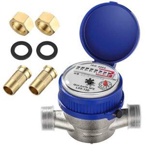 Hemobllo Water Meter Water Flow Meter Cold Water Meter for Garden and Home use