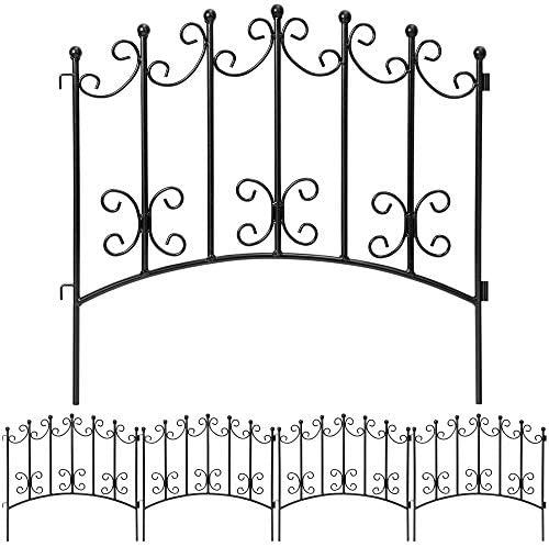 Amagabeli Rustproof Garden Fencing 24inx10ft Decorative Metal Fence Outdoor Folding Landscape Wire Patio Fences Flower Bed Animal Dogs Barrier Border Edge Section Black Decor Picket Panels Fences FC01