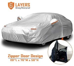 CARBABA Car Cover, Universal Full Car Covers with Zipper Door, 6 Layers All Weather Protection Waterproof/Windproof/Scratch Resistant/Reflective Strips for Sedan Wagon Use (177″ – 191″)
