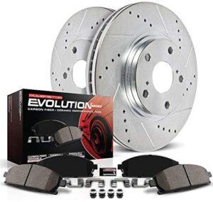 Power Stop K6503 Front Brake Kit with Drilled/Slotted Brake Rotors and Z23 Evolution Ceramic Brake Pads