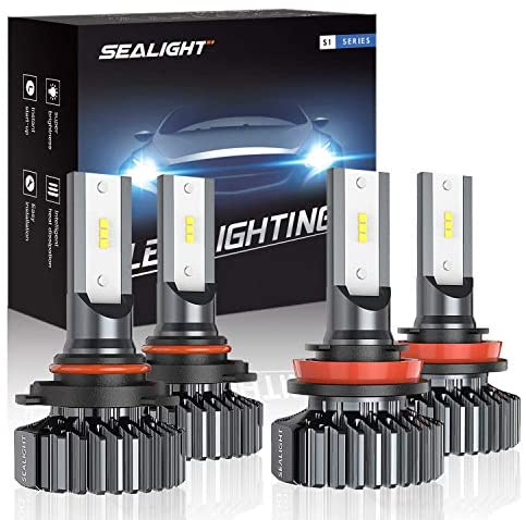 SEALIGHT 9005/HB3 H8/H11 LED Headlight Bulbs High Low Beam, Combo Package CSP Led Chips Hi/Lo lights – 13000lm 6000K White