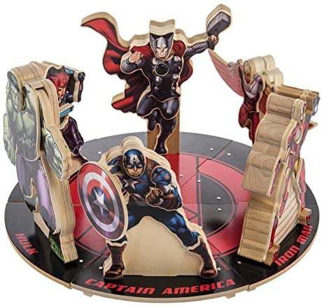 DG Home Goods Marvel Avengers (Set of 6) Wood Building Toy Hero Figure Kits Hulk Iron Man Thor Captain America Falcon Black Widow