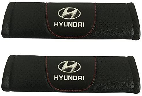 Jimat 2pcs Hyundai Logo Black Leather Car Seat Safety Belt Strap Covers Shoulder Pad Accessories Fit For Hyundai Accent Elantra Ioniq Kona Nexo Santa Fe Sonata Veloster Tucson