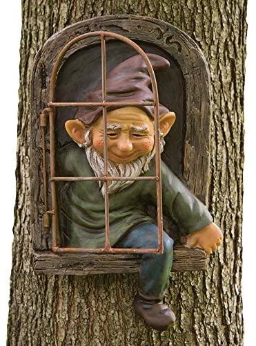 Bits and Pieces – Elf Out The Door Tree Hugger – Garden Peeker Yard Art – Whimsical Tree Sculpture Garden Decoration