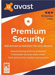 Avast Premium Security 2020   Antivirus Protection Software   10 Devices, 1 Year [PC/Mac/Mobile Download]