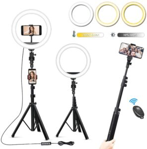 Zuukoo 10 Inch Selfie Ring Light with Tripod Stand & 3 Phone Holders LED Ring Light Selfie Stick for Photography/Makeup/Live Streaming/YouTube, Compatible with iPhone/Android/Camera