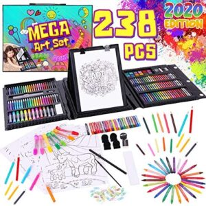 Dinonano School Art Supplies for Kids – Painting and Drawing Kit for Girls Boys Ages 3 4 5 6 7 8 9 10 11 12 Years Old – Art Set Sketch Pad Easel Oil Pastels Crayons Watercolor Pencils Markers