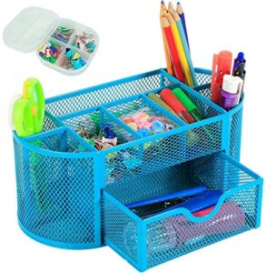 XYTLAX Office Desk Accessories Organizer Set – Including 10 Binder Clips, 20 Push Pins, 25 Paper Clips, and One Multi-Functional Caddy Mesh Metal Pen Holder Stationery with 9 Compartments (Blue)