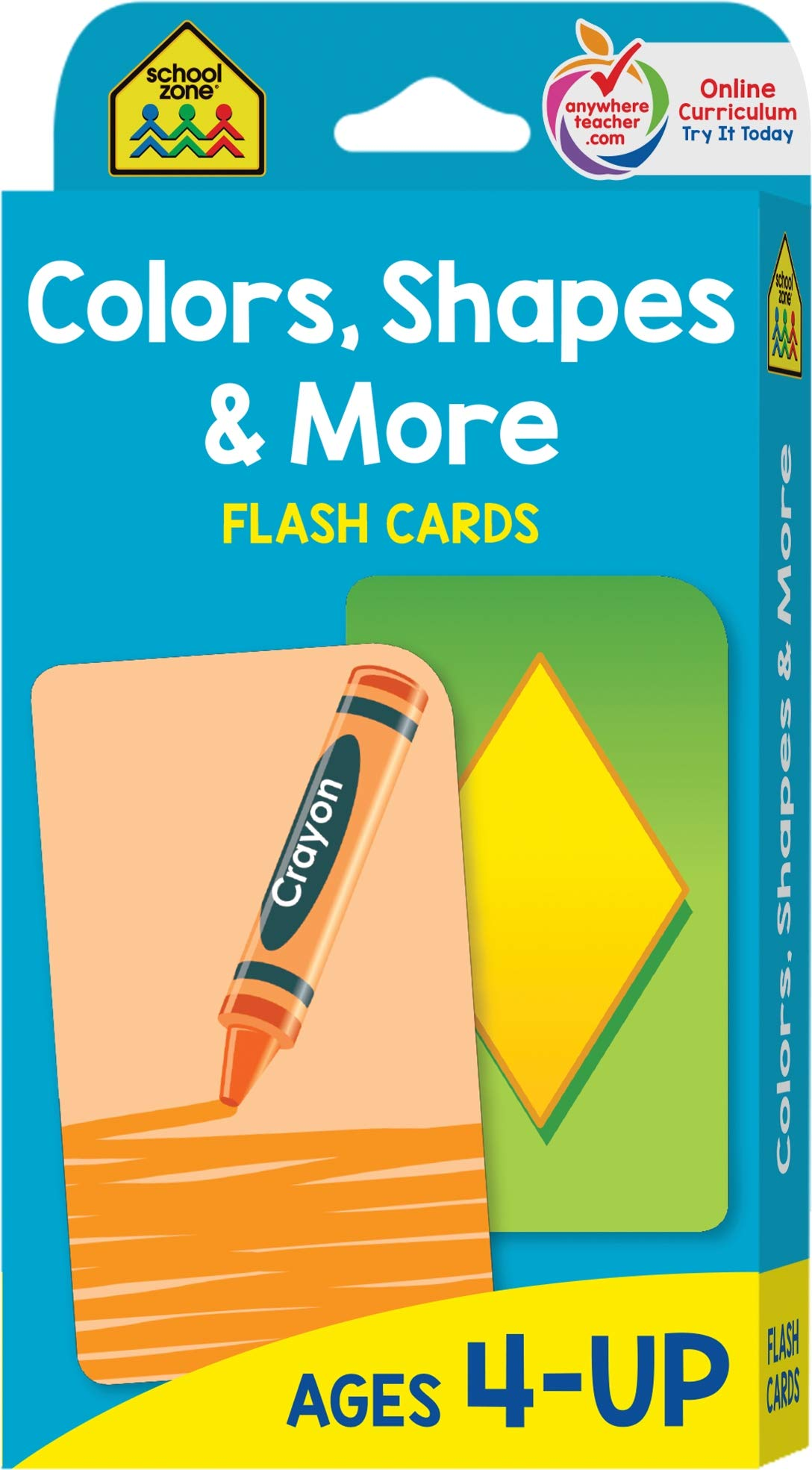 School Zone – Colors, Shapes & More Flash Cards – Ages 4 and Up, Preschool to Kindergarten, Pictures, Numbers, Rhyming Words, Directional Words, Shape Recognition, and More