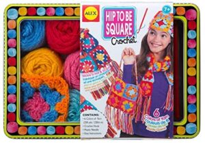 ALEX Toys – Hip To Be Square Crochet Kit with 300-Yards of Yarn and Storage Tin, 83T