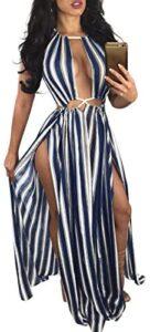 BIUBIU Women's Boho Floral Halter Summer Beach Party Split Cover Up Dress S-XL