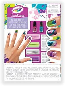 Crayola Creations Metallic Nail Kit, Gift for Girls and Tweens, Ages 6,7, 8 and Up, Holiday Toys, Stocking , Arts and Crafts,  Gifting