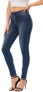 Ecupper Womens Skinny Fit Jeans Stretch High Waist Denim Jeggings with Pockets