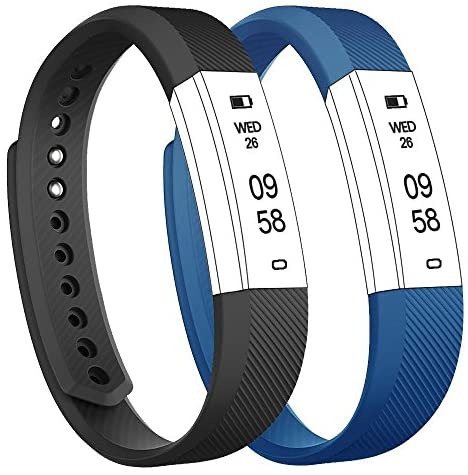Flenco Watch Band Adjustable Replacement Strap Wristband Bracelet For ID115 or ID115 HR Activity Tracker Smart Watch Fitness Tracker Step Tracker ( Black + Blue )