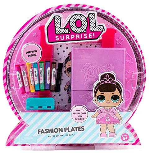 L.O.L. Surprise! Fashion Plates by Horizon Group USA, Fashion Design Activity Kit, Make Over 100 Designs, 14 Fashion Plates, 20 Sheets of Paper, 1 Scratch Art Sheet, 7 Crayons Included