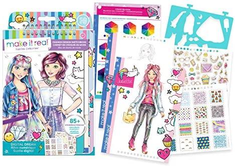 Make It Real – Fashion Design Sketchbook: Digital Dream. Inspirational Fashion Design Coloring Book for Girls. Includes Sketchbook, Stencils, Puffy Stickers, Foil Stickers, and Fashion Design Guide