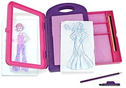 Melissa & Doug Fashion Design Art Activity Kit – 9 Double-Sided Rubbing Plates, 4 Pencils, Crayon