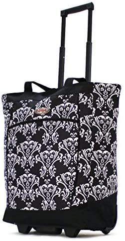 Olympia Fashion Rolling Shopper Tote DB, Damask Black, One Size